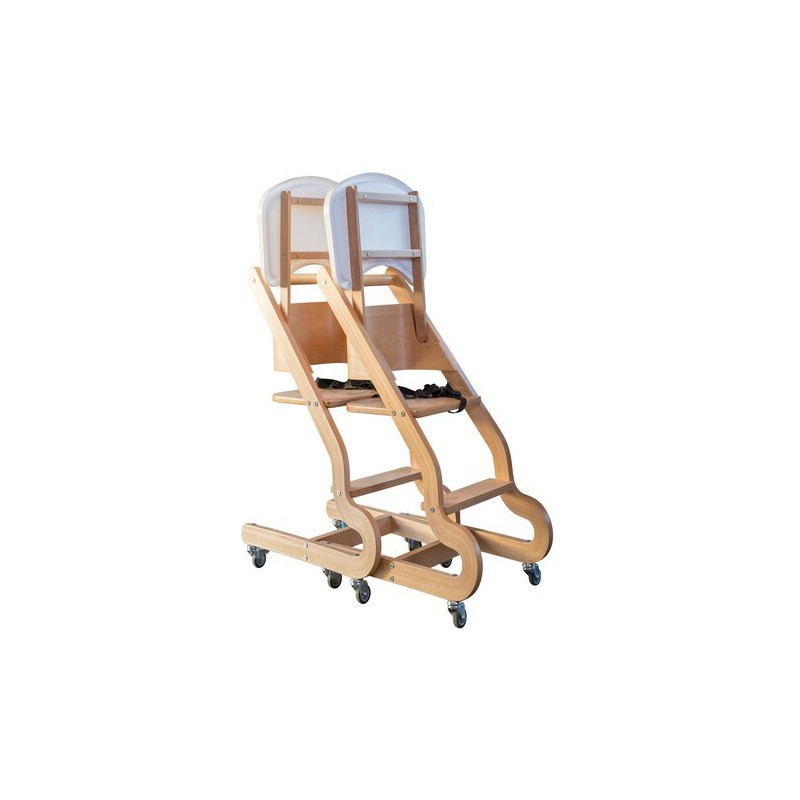 Chaise Prestige en hêtre clair 4 roulettes avec plateau relevable